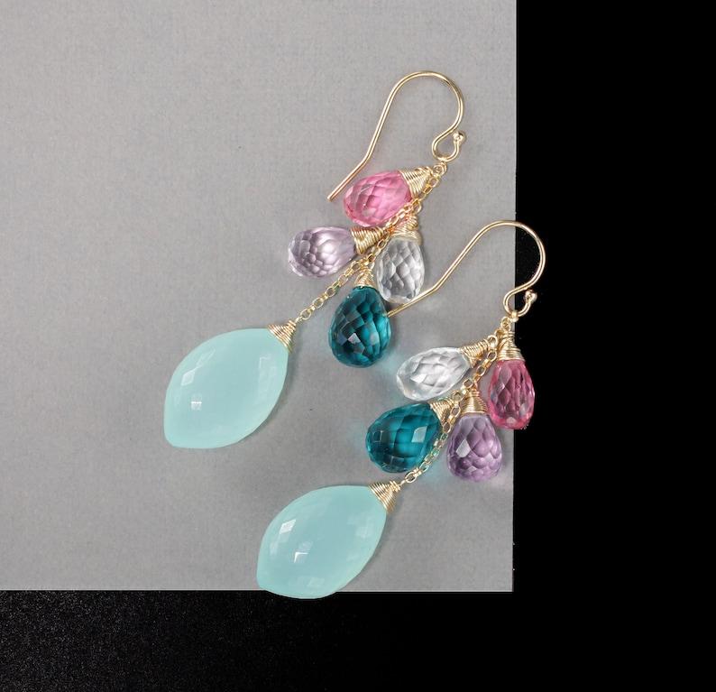 Chalcedony Earrings Pink Blue Dangle Earrings Gemstone Earrings Multi Stone Cluster Earrings Gemstone Dangles Briolette Drop Earrings