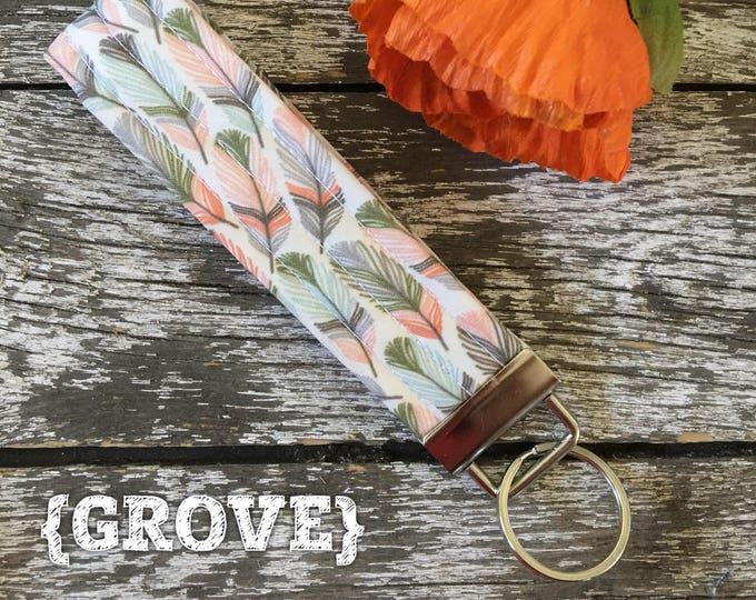 Grove Feather Fabric Key Fob/Key Chain/Fabric Key Fob/Key Ring/Luggage Tag/Stocking Stuffer/New Driver Gift/Bag Tag/Keyring/Wristlet