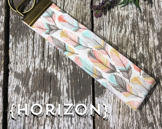 Horizon Feather Fabric Key Fob/Key Chain/Fabric Key Fob/Key Ring/Luggage Tag/Stocking Stuffer/New Driver Gift/Bag Tag/Keyring/Wristlet