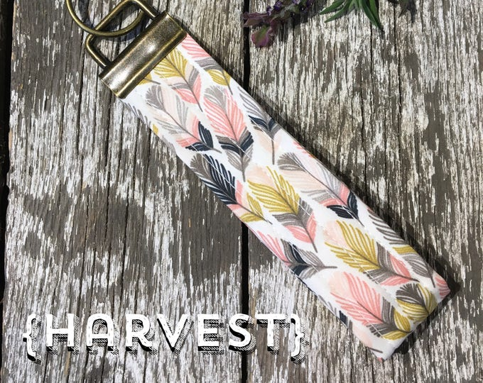 Harvest Feather Fabric Key Fob/Key Chain/Fabric Key Fob/Key Ring/Luggage Tag/Stocking Stuffer/New Driver Gift/Bag Tag/Keyring/Wristlet