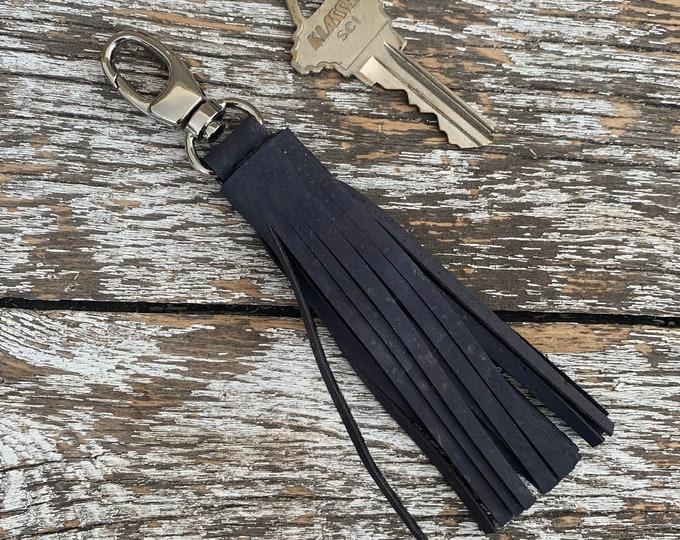 Grey Cork Tassel/Key Fob/Key Chain/Fabric Key Fob/Key Ring/Luggage Tag/Stocking Stuffer/New Driver Gift/Bag Tag/Keyring