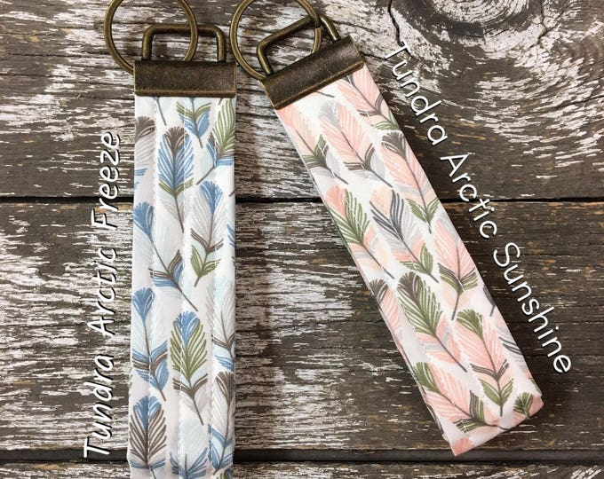 Arctic Freeze or Arctic Sunshine Feather Fabric Key Fob/Key Chain/Fabric Key Fob/Key Ring/Luggage Tag/Stocking Stuffer/New Driver Gift