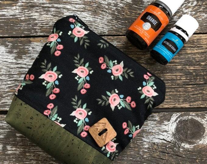 Bliss Floral Cork Bottom Mini Fabric Essential Oil Pouch/Essential Oil Pouch/Essential Oil Case/Essential Oil Holder/Oil Travel Pouch
