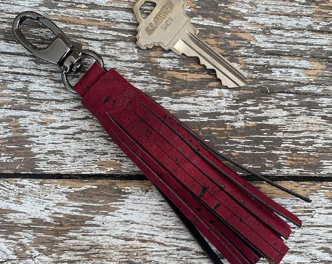 Red Cork Tassel/Key Fob/Key Chain/Fabric Key Fob/Key Ring/Luggage Tag/Stocking Stuffer/New Driver Gift/Bag Tag/Keyring