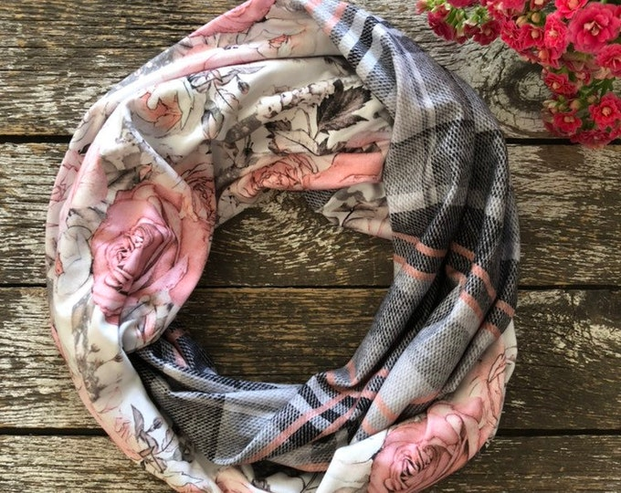 Dusty Rose + Rose Gold Plaid Double Loop Bamboo Infinity Scarf/Infinity Scarf/Bamboo Fabric Scarf/Scarf/Neck Warmer/Knit Infinity Scarf