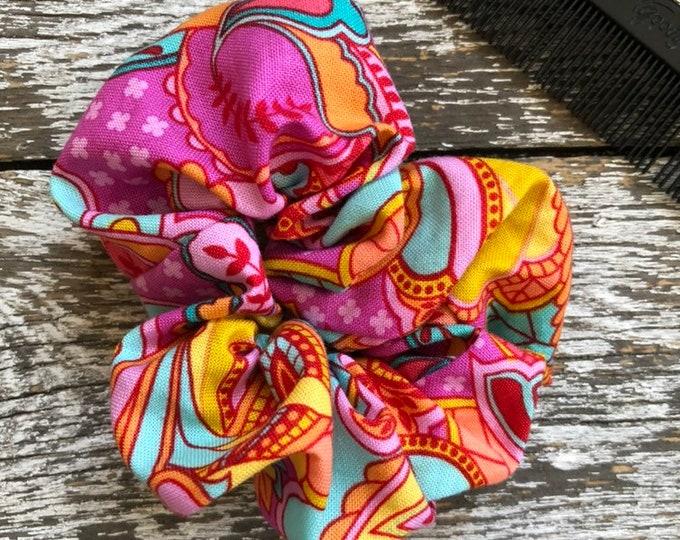 Tula Pink Hair Scrunchie/Hair Tie/Hair Elastic/Hair Accessories/Hair Scrunchie/Scrunchie
