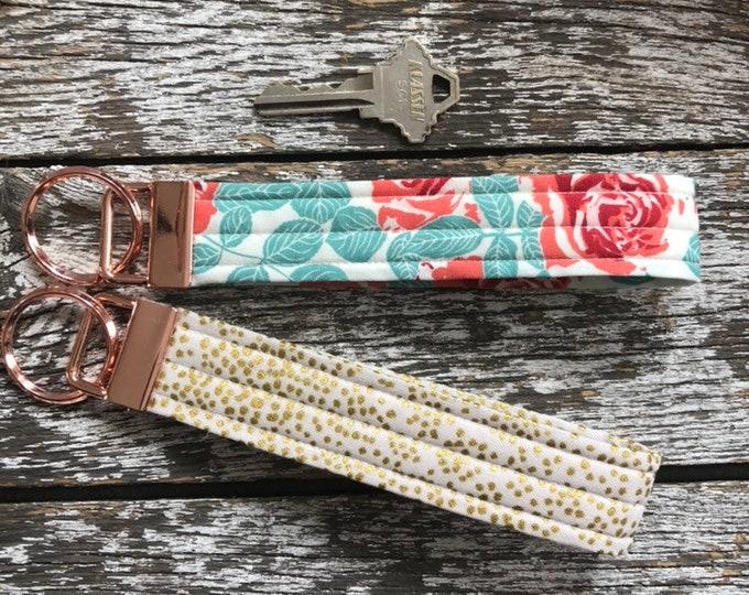 Rose Gold + Fabric Key Fob/Key Chain/Fabric Key Fob/Key Ring/Luggage Tag/Stocking Stuffer/New Driver Gift/Bag Tag/Keyring/Wristlet
