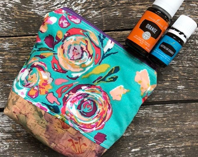 Boho Cork Bottom Mini Fabric Essential Oil Pouch/Essential Oil Pouch/Essential Oil Case/Essential Oil Holder/Oil Travel Pouch/EO Pouch
