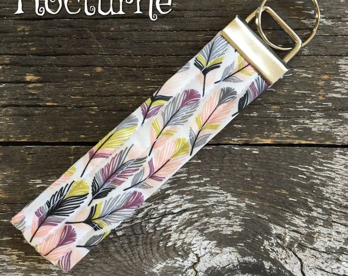 Nocturne Feather Fabric Key Fob/Key Chain/Fabric Key Fob/Key Ring/Luggage Tag/Stocking Stuffer/New Driver Gift/Bag Tag/Keyring/Wristlet