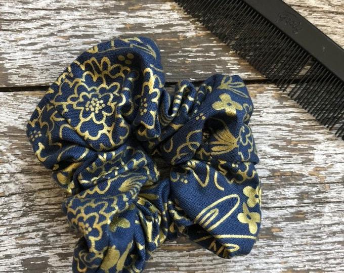Gold Floral Hair Scrunchie/Hair Tie/Hair Elastic/Hair Accessories/Hair Scrunchie/Scrunchie