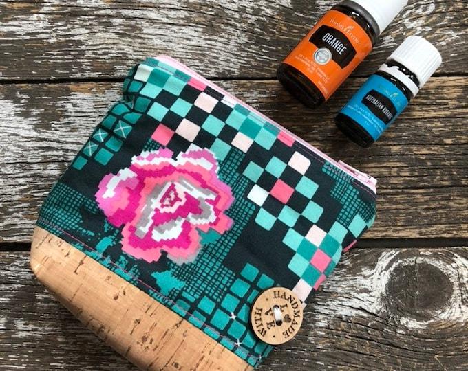 AGF Grid Cork Bottom Mini Fabric Essential Oil Pouch/Essential Oil Pouch/Essential Oil Case/Essential Oil Holder/Oil Travel Pouch