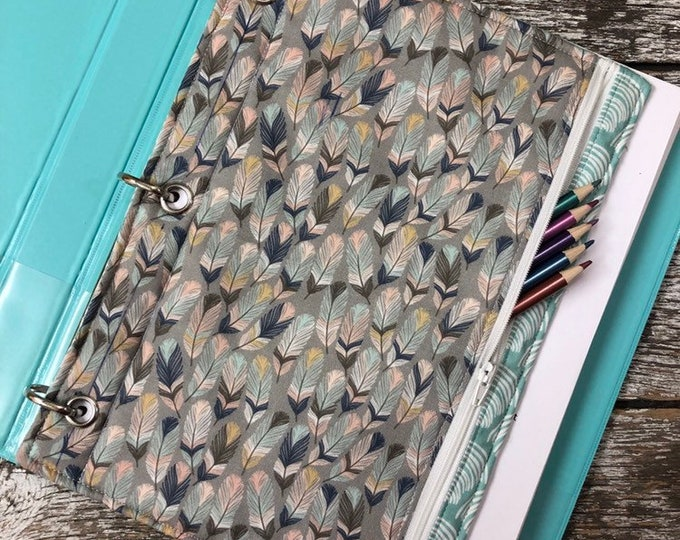 Feather 3 Ring Binder Pencil Case / 3 Ring Binder Pencil Pouch / Pencil Case / Pencil Pouch