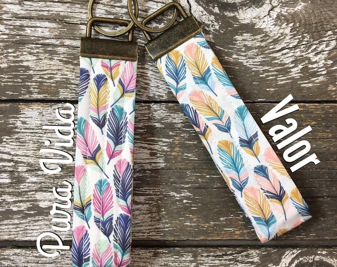 Pura Vida or Valor Feather Fabric Key Fob/Key Chain/Fabric Key Fob/Key Ring/Luggage Tag/Stocking Stuffer/New Driver Gift/Bag Tag/Wristlet