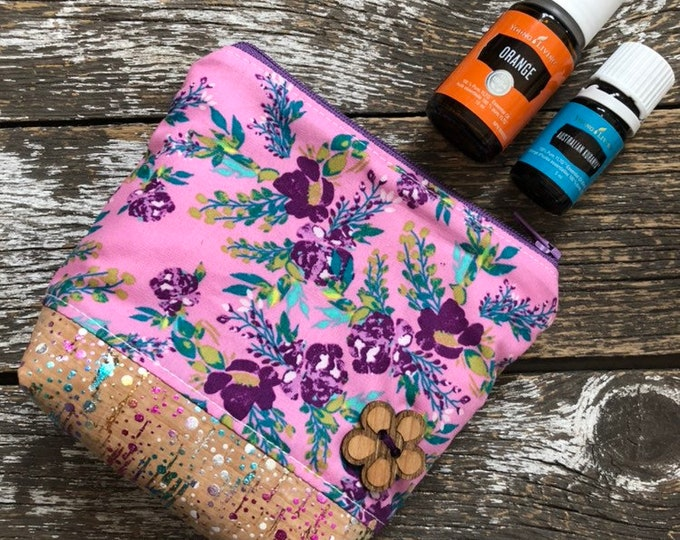AGF Floral Cork Bottom Mini Fabric Essential Oil Pouch/Essential Oil Pouch/Essential Oil Case/Essential Oil Holder/Oil Travel Pouch