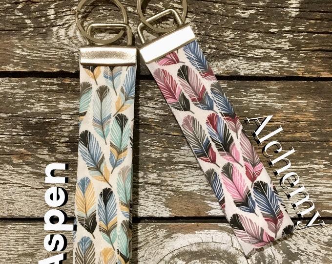 Aspen or Alchemy Feather Fabric Key Fob/Key Chain/Fabric Key Fob/Key Ring/Luggage Tag/Stocking Stuffer/New Driver Gift/Bag Tag/