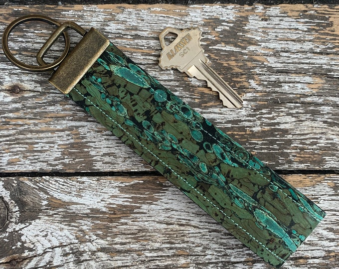 Green Cork Key Fob/Key Chain/Fabric Key Fob/Key Ring/Luggage Tag/Stocking Stuffer/New Driver Gift/Bag Tag/Keyring