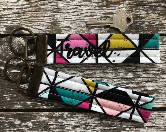 Grid Fabric Key Fob/Key Chain/Fabric Key Fob/Key Ring/Luggage Tag/Stocking Stuffer/New Driver Gift/Bag Tag/Keyring/Wristlet