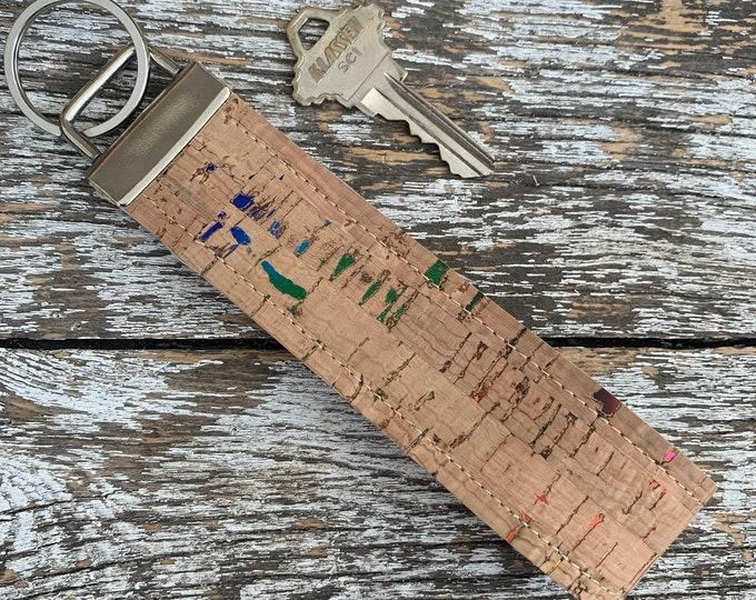Rainbow Fleck Cork Key Fob/Key Chain/Fabric Key Fob/Key Ring/Luggage Tag/Stocking Stuffer/New Driver Gift/Bag Tag/Keyring
