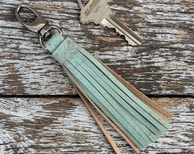 Mint Cork Tassel/Key Fob/Key Chain/Fabric Key Fob/Key Ring/Luggage Tag/Stocking Stuffer/New Driver Gift/Bag Tag/Keyring