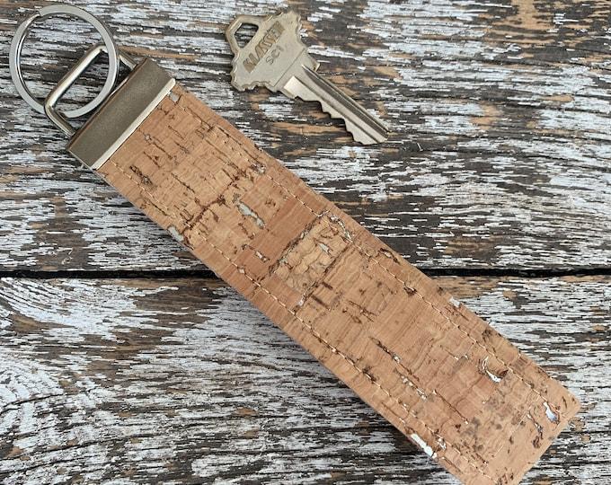 Silver Fleck Cork Key Fob/Key Chain/Fabric Key Fob/Key Ring/Luggage Tag/Stocking Stuffer/New Driver Gift/Bag Tag/Keyring