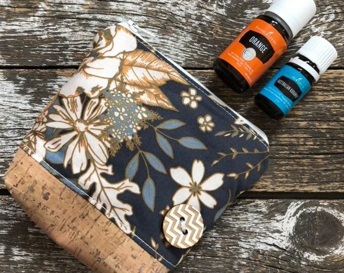Floral Universe Cork Bottom Mini Fabric Essential Oil Pouch/Essential Oil Pouch/Essential Oil Case/Essential Oil Holder/Oil Travel Pouch