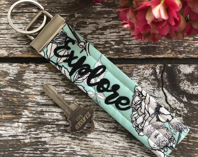 Explore Fabric Key Fob/Key Chain/Fabric Key Fob/Key Ring/Luggage Tag/Stocking Stuffer/New Driver Gift/Bag Tag/Keyring/Wristlet