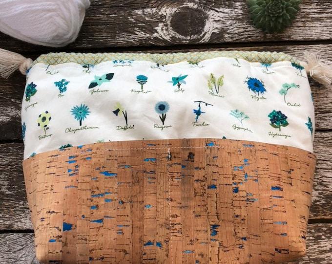 Mini Floral Sock Project Bag/Cosmetic Bag/Knitting Project Bag/Sewn Bag/Sewn Project Bag/Sewn Tote/Sock Bag
