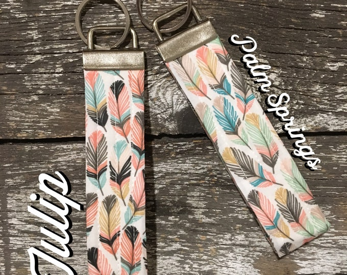 Tulip or Palm Springs Feather Fabric Key Fob/Key Chain/Fabric Key Fob/Key Ring/Luggage Tag/Stocking Stuffer/New Driver Gift/Bag Tag/