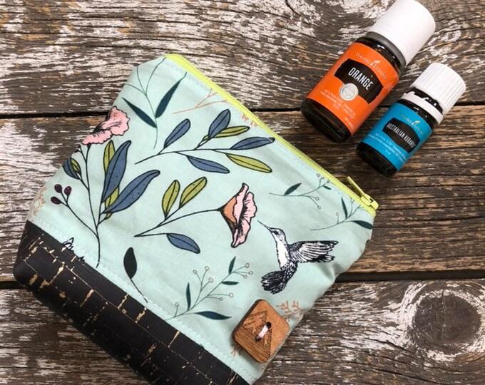 Humminbird Cork Bottom Mini Fabric Essential Oil Pouch/Essential Oil Pouch/Essential Oil Case/Essential Oil Holder/Oil Travel Pouch