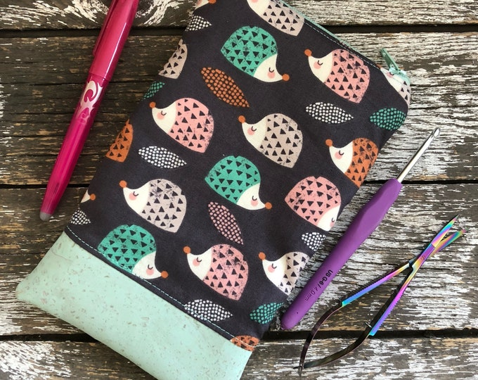 Hedgehog Cork Bottom Pouch/Cork Pouch/Cosmetic Pouch/Project Bag/Sewn Bag/Sewn Pouch/Pencil Pouch/Needle Pouch