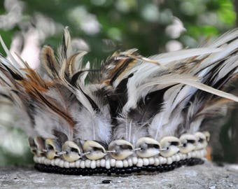 White and black feathers, armband, anklet, choker,festival feathers, Burning man festival, hippie, boho,free spirit,tribal feathers