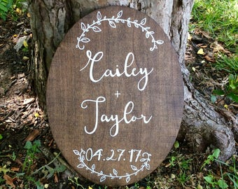 Rustic wood wedding sign, personalized couple's names and wedding date sign, unique wedding gift, anniversary gift, rustic wedding decor