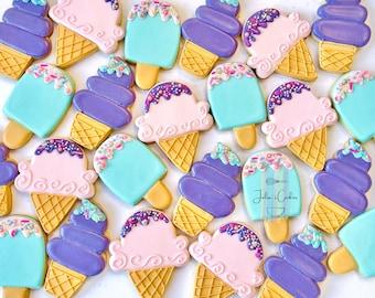 Ice cream Sunday/ice cream cookies/cookies/sugar cookies/custom cookies/ decorated cookies/vocation/summer/ice pop/popsicle/ice cream/summer