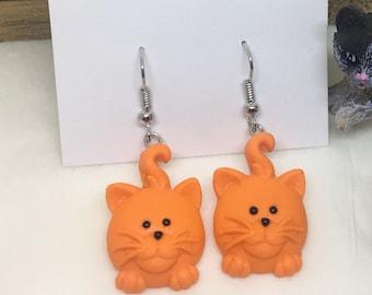 Tabby Orange Cat Polymer Clay Earrings