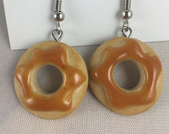 Canadian Maple Donut polymer clay earrings