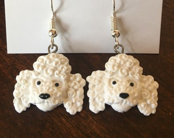 French poodle polymer clay earrings