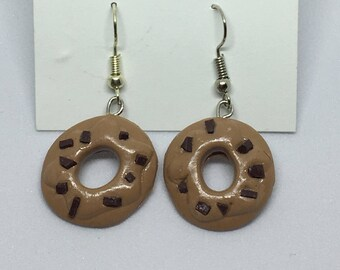 chocolate chip donut polymer clay earrings
