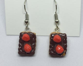chocolate strawberry pastry polymer clay earrings