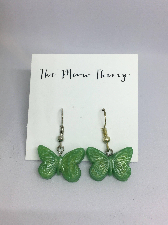 Hypoallergenic Dangle Earrings Butterfly Butterfly Brass /& Polymer Clay Earrings Dangle Polymer Clay Earrings Statement Earrings
