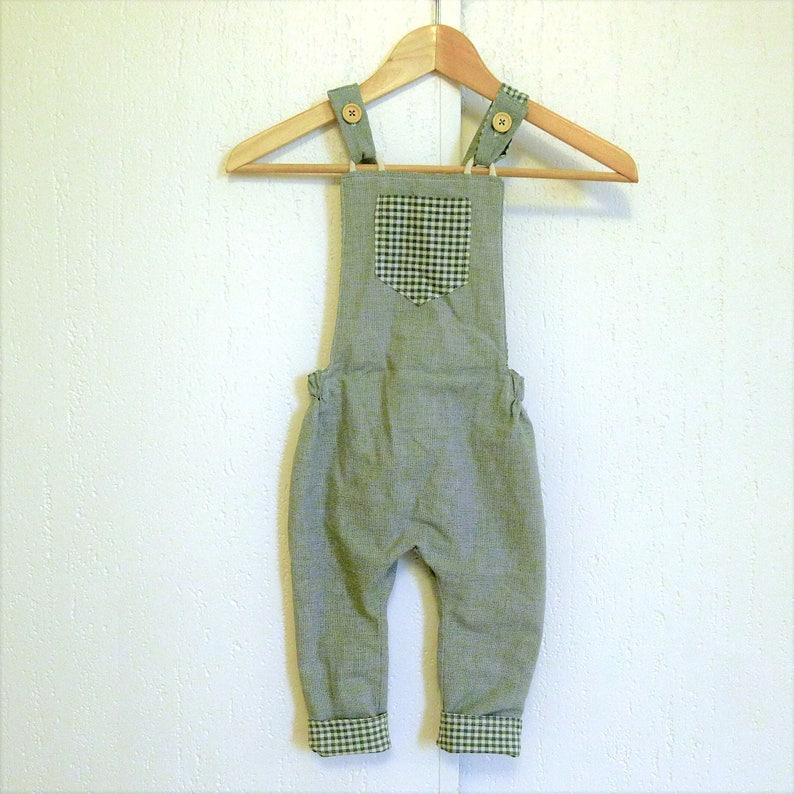 classic baby gingham baby wedding outfit growing harems unisex harem romper vintage Reversible baby overalls harem dungarees