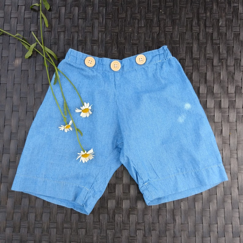 classic baby kids denim shorts baby birthday outfit 3in1 Unisex Suspender Baby Shorts detachable bib shorts -chambray-occassion wear