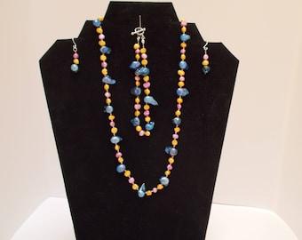 "Jewelry Set: 24"" Necklace, 9"" Bracelet, Hook Earrings. Pink, Yellow, & Blue Pearl Beads Strung on Silk Thread"