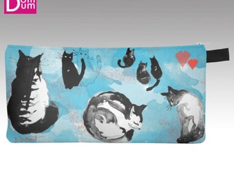 Case to pencil or makeup, cats, on light blue, white and coral pattern