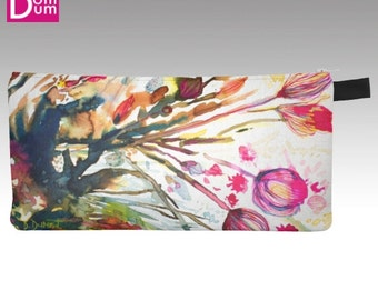 Pencil or makeup case, abstract watercolor print inspired algae flowers