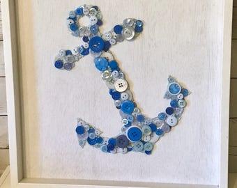 Anchor button art- Blue Anchor - Nautical decor - Nursery decor- Anchor - Blue button art