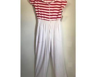 1960s Lanz jumpsuit capri bellbottom romper with pockets medium size vintage beachwear