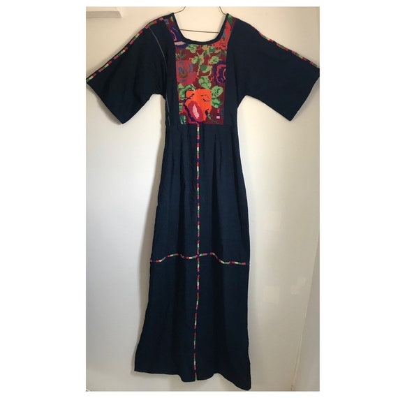 Vintage Embroidered Denim Maxi Dress, Mexican, Eth