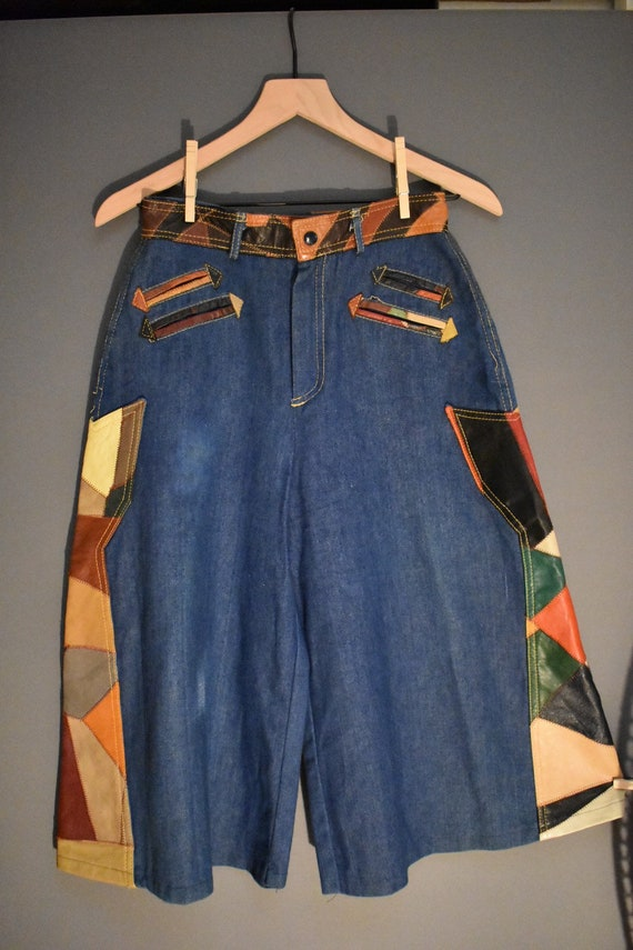 Vintage 1970s Leather Patchwork denim culottes, ga