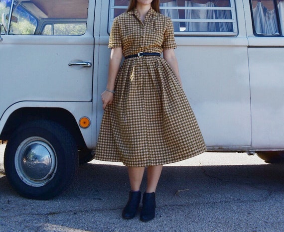 Vintage 1950s Houndstooth Dress, Green and Tan, Fl