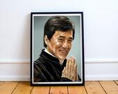 Jackie Chan, Fan Art, Digital Art, Celebrity Painting, Poster Print, Instant Download